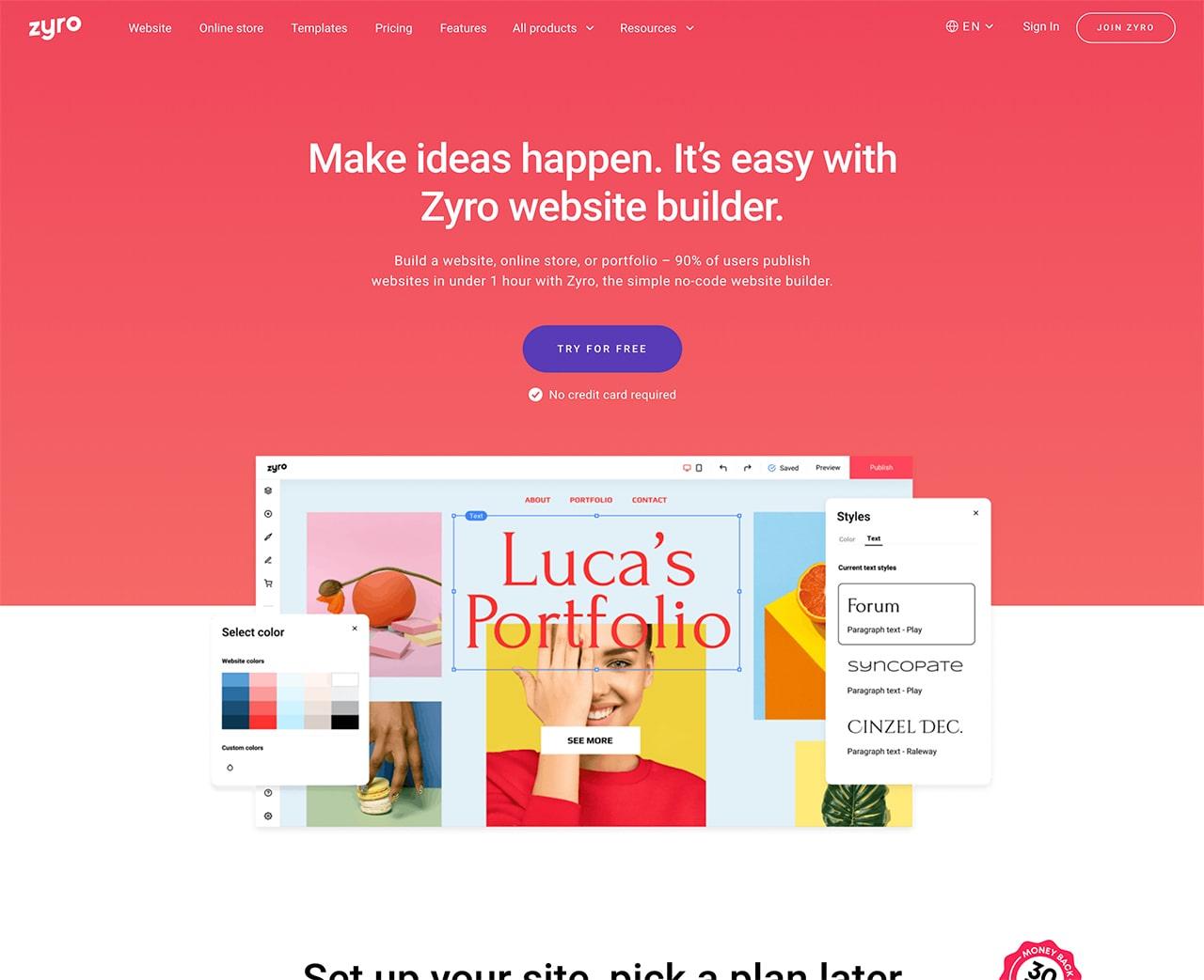 zyro website creator free