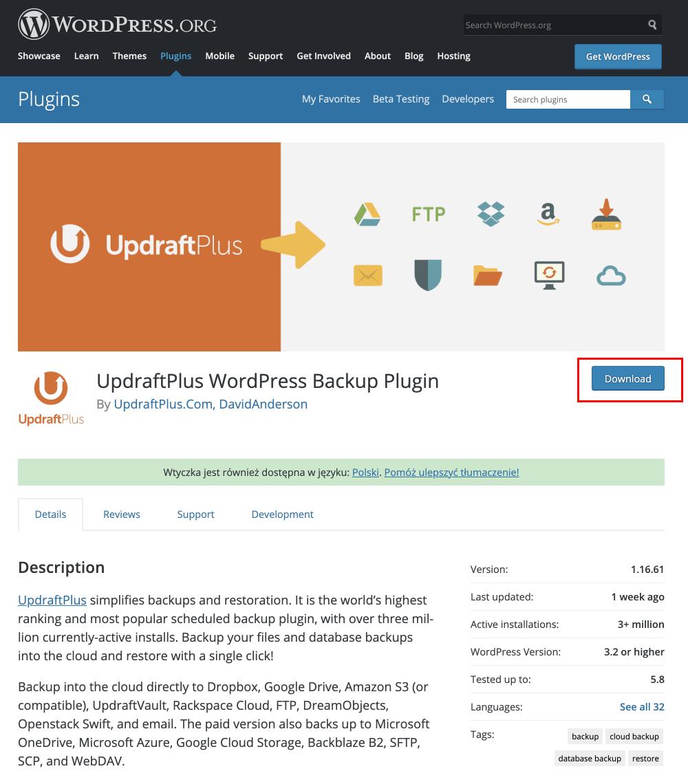download updraftplus plugin
