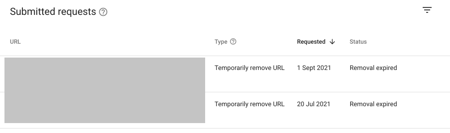 submitted request to remove google old links-min