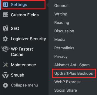 updraftplus backups