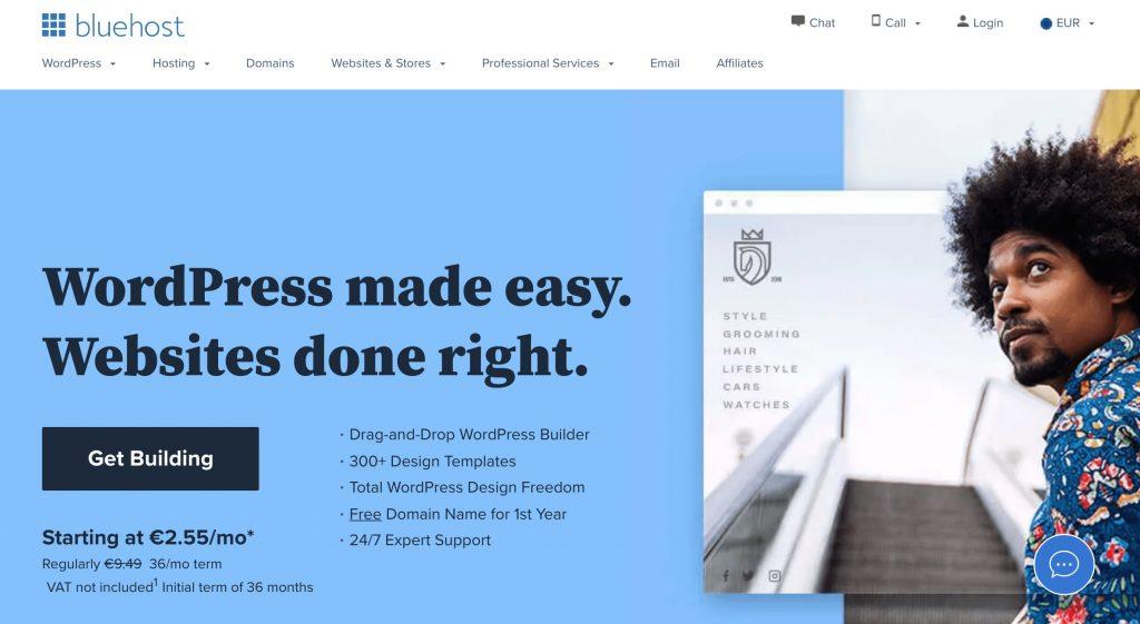 International WordPress Hosting Options BlueHost