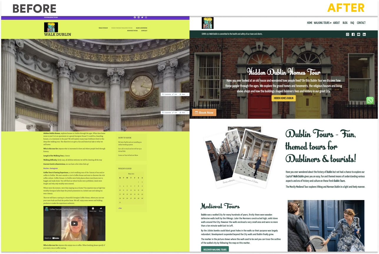RUTH KELLY WALK DUBLIN BEFORE AFTER REDESIGN WEBSITE