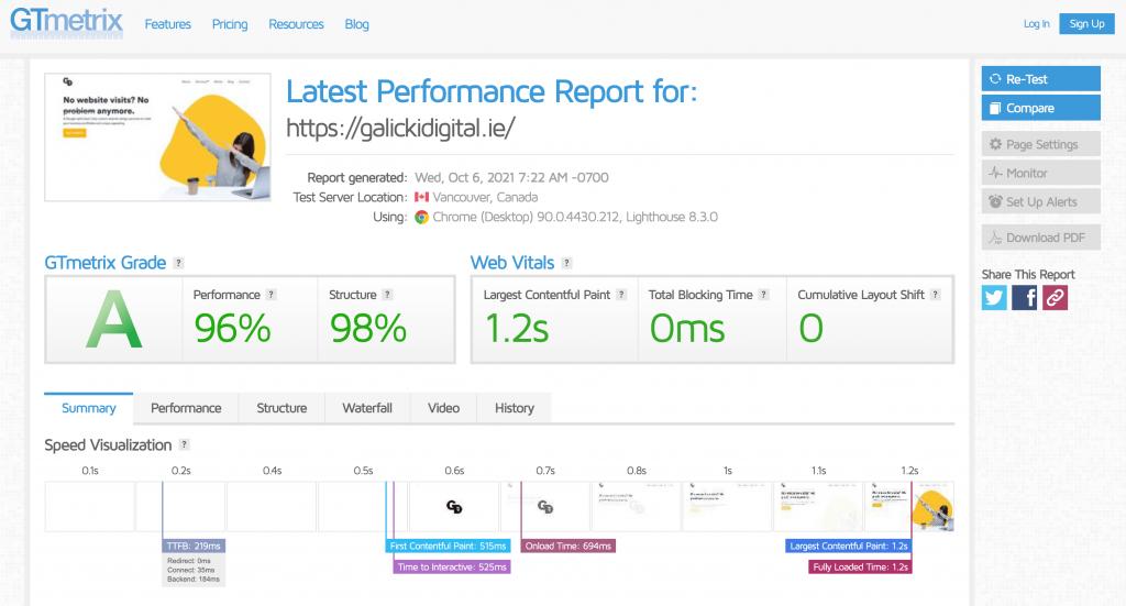 galicki digital performance website speed factor